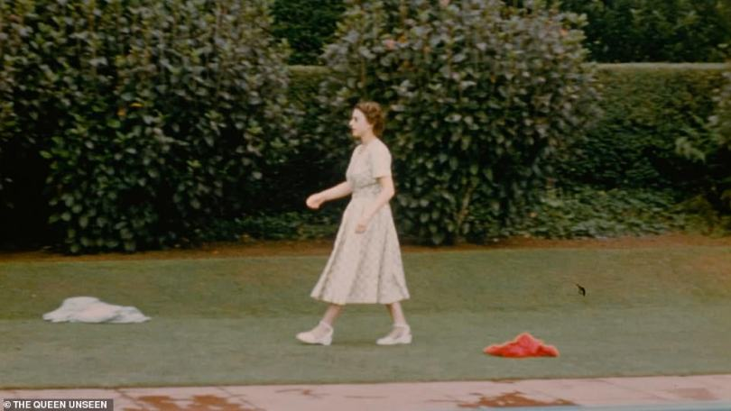The Queen is pictured strolling by the poolside in a rare and unseen private home movie.Taking a short break from the gruelling tour, the royal couple stayed with New Zealand's Governor General, Sir Willougby Norrie, whose wife filmed the visit which took place over Christmas in 1953