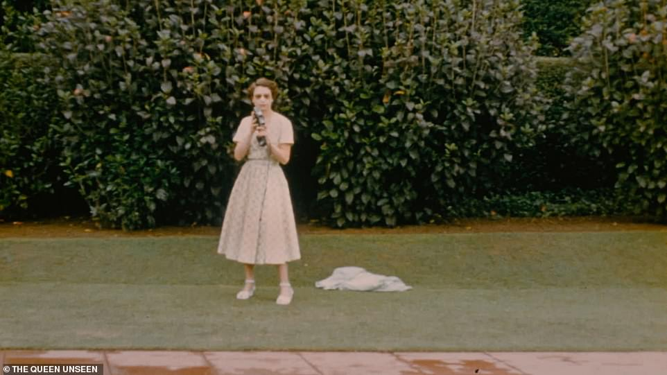 A young Queen filming with a Cine Camera at the swimming pool on Christmas Day 1953 in New Zealand. The royal couple stayed with New Zealand's Governor General, Sir Willougby Norrie, whose wife filmed the visit for a home video