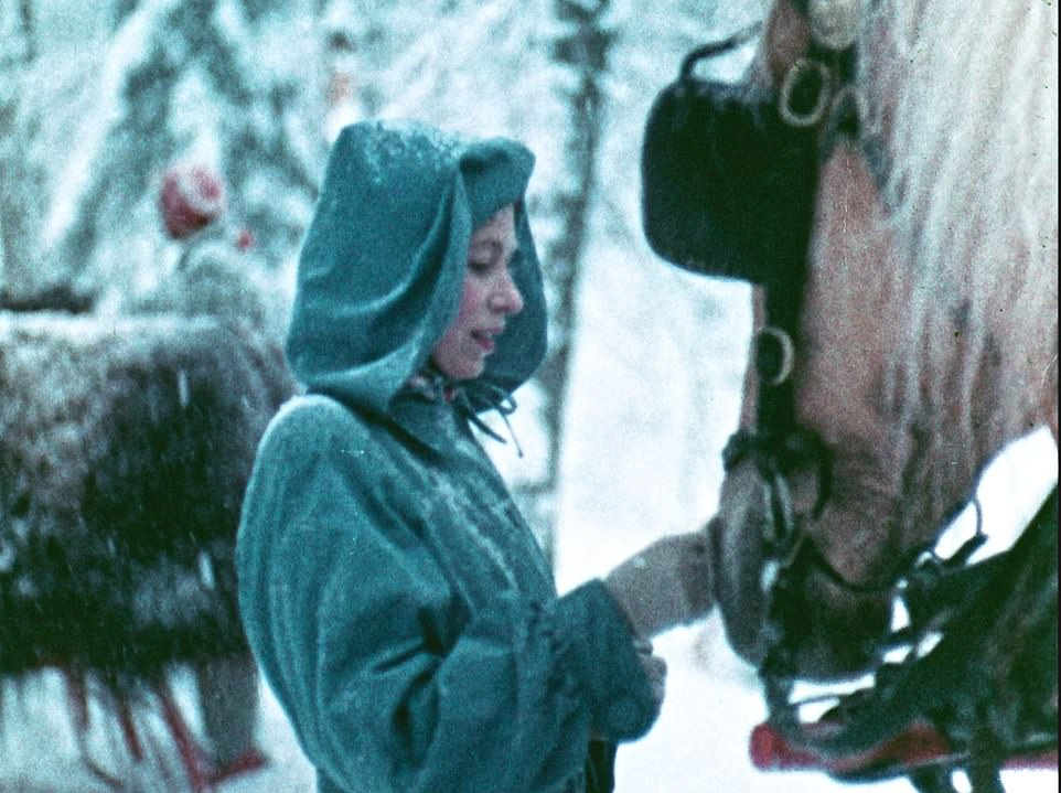 A young Queen with horses while on a Canadian Tour in 1951. The Queen and Prince Philip took a traditional sleigh ride filmed in colour for a movie called Royal Journey, which was the first colour feature film made in the country