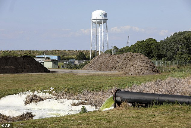 Effluent spews into a ditch at Port Manatee, where a breach in a nearby wastewater reservoir on the site of a defunct phosphate plant forced an evacuation order for hundreds of homes