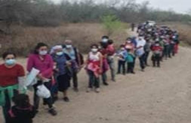 Pictured are some of the 276 migrants who were found by Border Patrol agents in west Texas near the Mexico-United States border on Tuesday