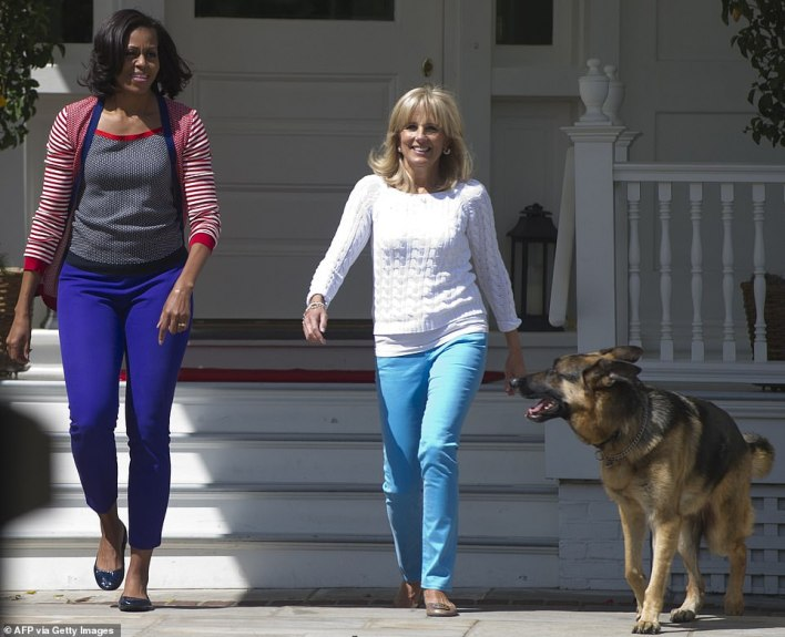 Michelle Obama and Jill Biden started Joining Forces in 2011; above the two women with the Biden's dog Champ held an event at the vice president's house in May 2012