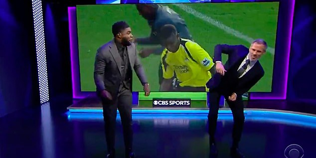 Richards and Jamie Carragher then tried to copy one of the defender's dances in the studio