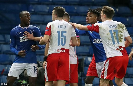 The Rangers clashed with Kudel during his Europa League draw against Slavia Prague