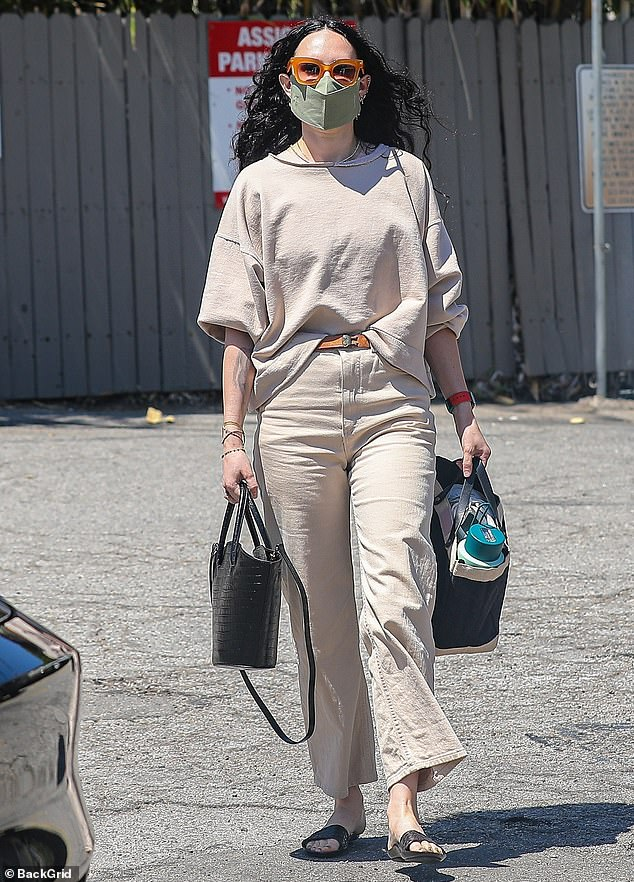 Simple style: Rumer Willis stepped out in a cool color-coordinated ensemble Wednesday in West Hollywood, California