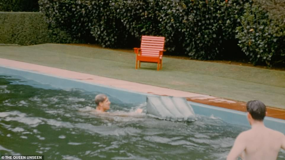 The Duke of Edinburgh struggles to climb onto a lilo in the pool on Christmas Day 1953. Sir Willougby Norrie's daughter was ten at the time and has recalled the excitement of the Queen's stay while on the tour of New Zealand