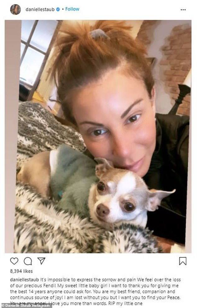 The latest: The Real Housewives of New Jersey ex-graduate Danielle Staub, 58, took to Instagram on Tuesday to mourn the loss of her dog Chihuahua Fendi
