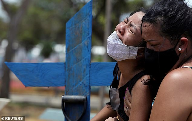 Kelvia Andrea Goncalves, 16, is supported by her aunt Vanderleia dos Reis Brasao, 37, as her 39-year-old mother is buried  in a cemetery in Manaus, Brazil, after she contracted Covid