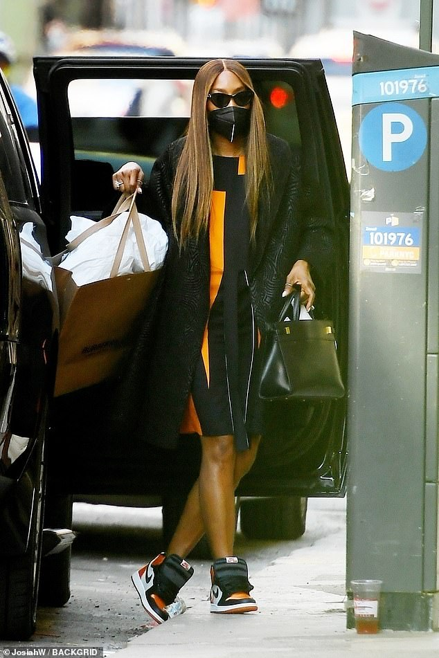 Style icon:Naomi Campbell was a vision of style as she shopped at Burberry in New York City on Wednesday
