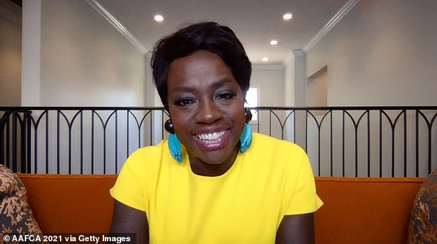 Hello sunshine! The Ma Rainey's Black Bottom actress stood out in a yellow short-sleeved creation and turquoise earrings as she accepted the honor during the virtual ceremony