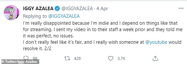 Fuming: 'I've waited 48 hours and still can't get a real response from anyone on YouTube as to why they have much more controversial videos on their trending list throughout the week' 'Iggy tweeted.
