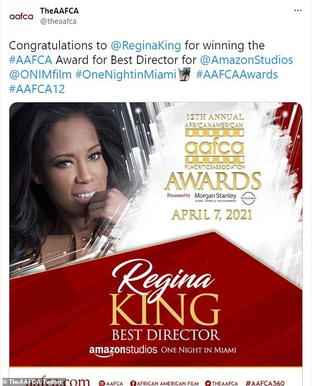 Yasss queen! It was King who took home the best director prize for her feature directorial debut, One Night In Miami