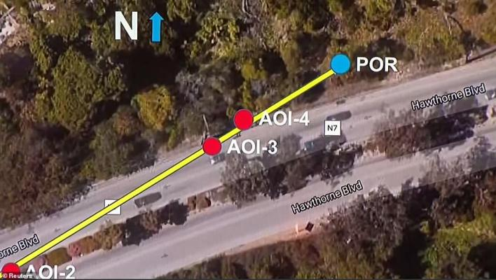 The blue dot labeled 'POR' shows the spot where the vehicle came to rest, hitting a tree at around 75mph