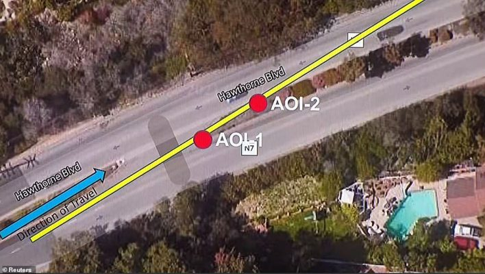 The diagram shows how Tiger's car crossed the median and headed into incoming traffic. Thankfully no vehicles were approaching at that time