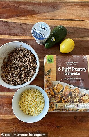 The pastry snack is easy to make and only requires the leftover mince, grated cheese and puff pastry sheets. Adele also made a dip from sour cream, avocado and lemon juice