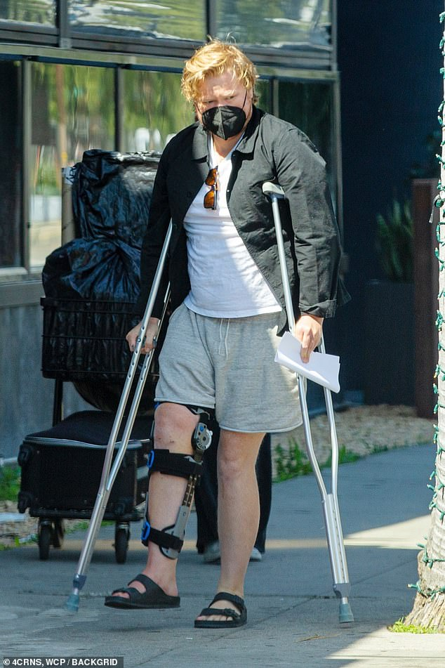 Ouch!  Jesse Plemons, 33, was the worst for wear when he was spotted running errands in Los Angeles on crutches and wearing a leg brace.