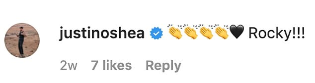 The secret's out! Fashion director Justin O'Shea, who is a friend of Buddy's, had left this comment on Instagram on March 24, seemingly confirming the child's name