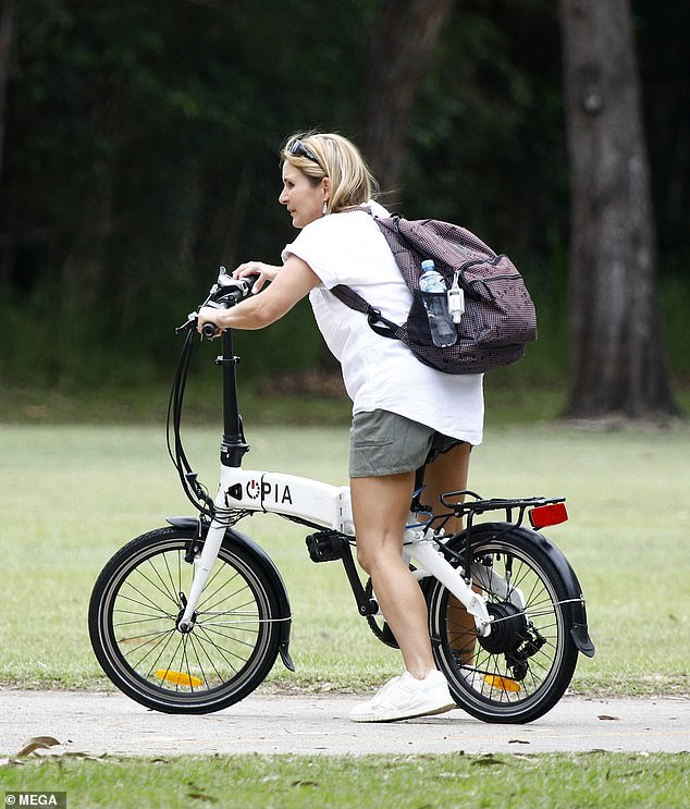 Just a number: The 46-year-old looked fit and fabulous as she rode around at local park
