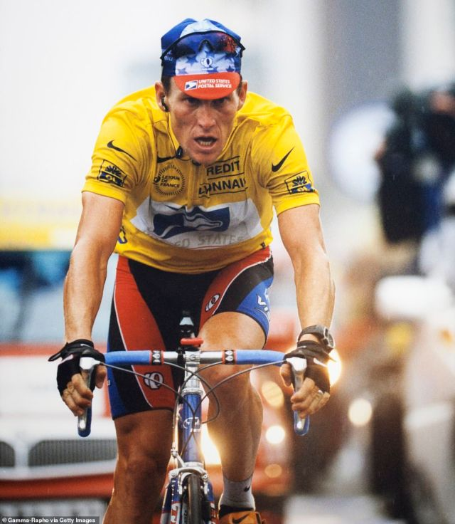 Lance Armstrong, 49, won the Tour De France seven consecutive times between 1999 (pictured) and 2005 before he was stripped of all of his achievements after it was revealed that he used performance-enhancing drugs