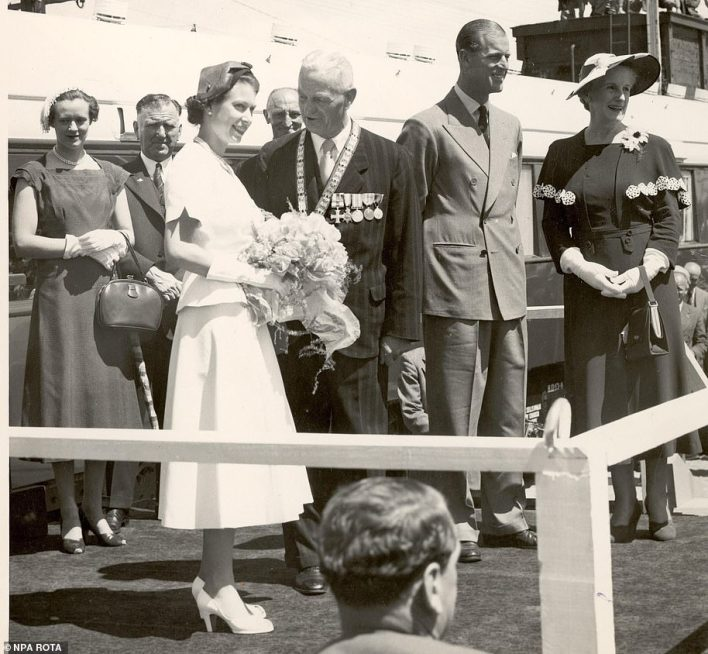 The Queen visits the halt of Fielding on her way with Prince Philip from Primerston North to New Plymouth in New Zealand in 1953