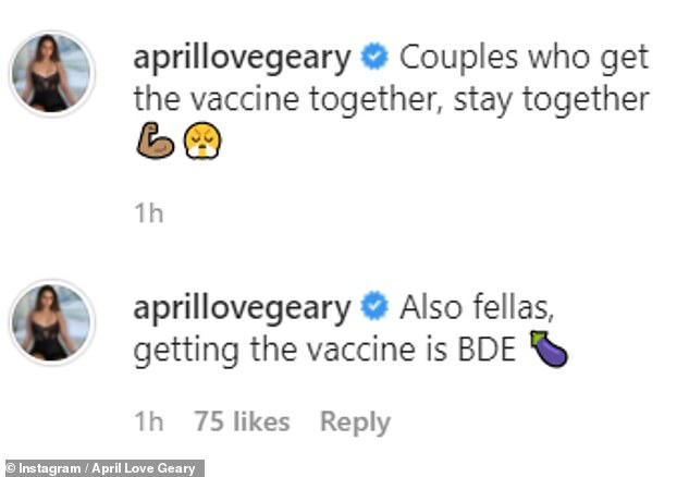 'Couples who get vaccinated, stay together': Model and five-time Grammy nominee Robin announced they had received the COVID-19 vaccine together, also in March