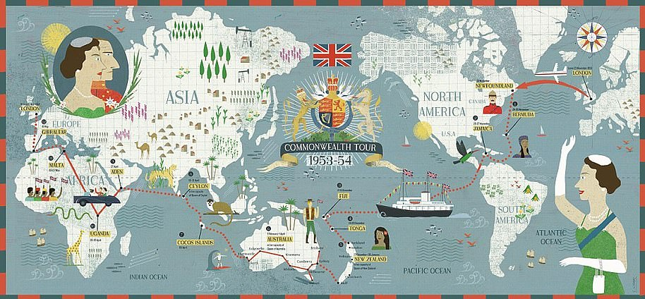 A map depicts the Commonwealth tour carried out over a seven-month period by the Queen which saw her travel 44,000 miles