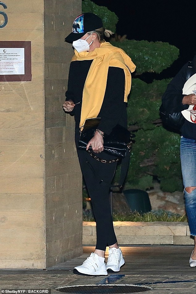 Evening: Charlize Theron was seen heading to Malibu's posh restaurant, Nobu, on Wednesday