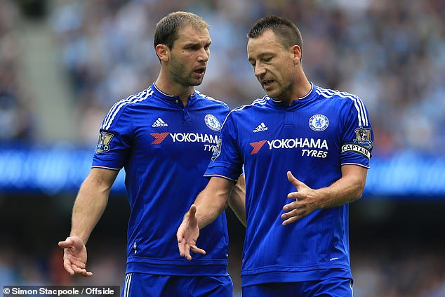 Chelsea captain Terry (right, pictured with Branislav Ivanovic) was given a torrid time by Manchester City during a 3-0 defeat at the Etihad Stadium in August 2015