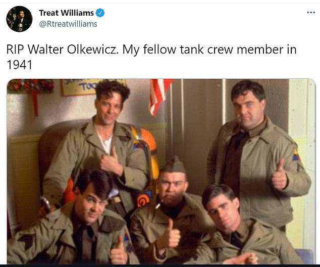 Missed:Treat Williams, Walter's co-star in 1941, shared a sweet snap of the actors on set and wrote: 'RIP Walter Olkewicz. My fellow tank crew member in 1941'