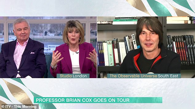 The British physicist, 53, said the 'universe might not be at all the way we perceive it to be' - but gave no other explanation before host Ruth Langsford quickly moved the conversation on