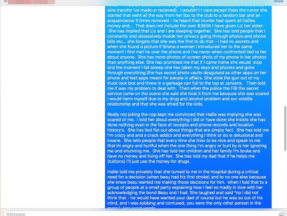 In texts obtained by DailyMail.com, Hunter messaged his therapist to tell him about Hallie dropping his gun in a grocery store trash can.'She stole the gun out of my truck lock box and threw in a garbage can full to the top at Jansens. Then told me it was my problem to deal with,' Hunter wrote