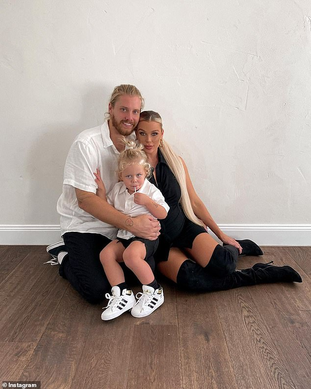 Expanding family: Skye is expecting her second child with boyfriend Lachlan.  Pictured with their two year old son, Forest