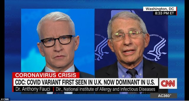 Dr Anthony Fauci said on CNN on Wednesday said that cases have plateaued at a 'disturbingly high level' and that there is a risk of a surge, just one day after he said he believed the U.S. mass vaccination campaign would prevent a fourth wave