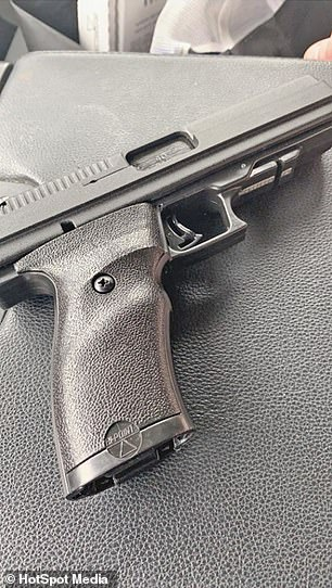 Warning: It was later revealed that Jesse's final Facebook post before the murder-suicide was a picture of a 'military grade' handgun (pictured)