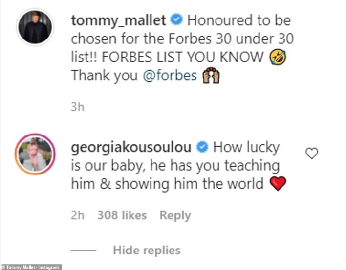 Mr Mallet wrote about the Forbes honour and expressed gratitude while his partnerGeorgia Kousoulou congratulated him