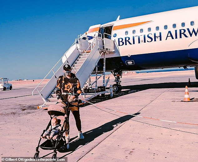Gilbert said that he was very impressed with BA's Covid security. He's pictured here after touching down in Santorini