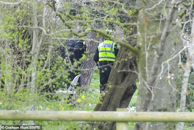Officers were earlier today seen searching a wooded area of the estate, near to Gillingham in Dorset