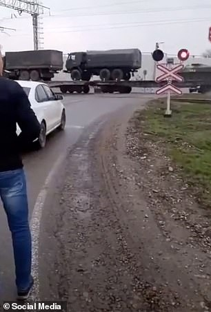 Other footage showed military trucks being freighted to the region