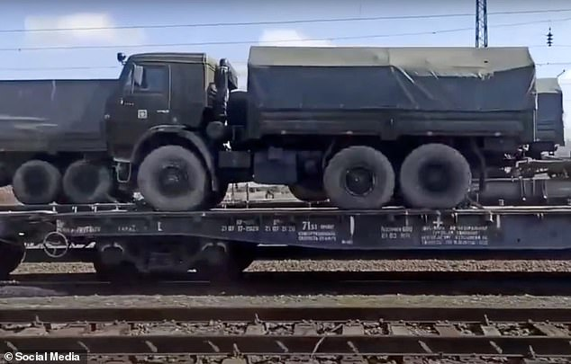 A truck is seen on its way to the Ukrainian border amid a massive build up of hardware from Moscow