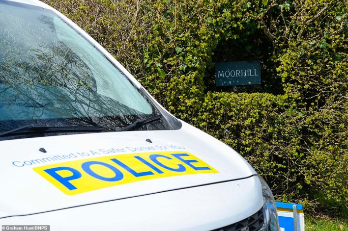 A police van was parked at the entrance to the Dorset property earlier today, as they investigated the incident