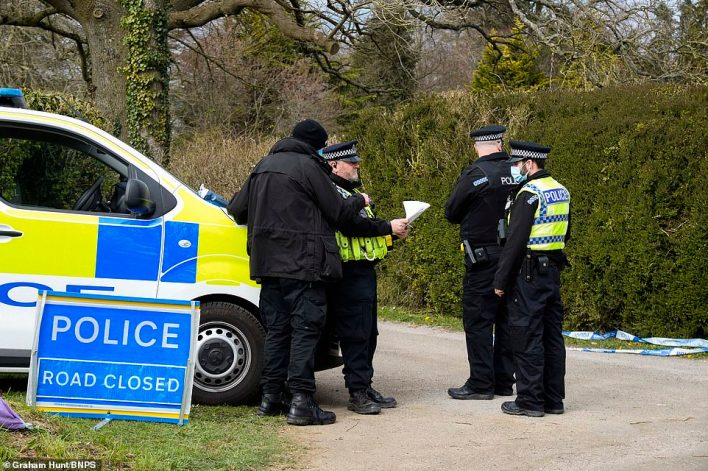 In total he and his family own close to 7,000 acres of land across the UK - more than double the amount owned by the MoD. Pictured: Police at the scene earlier today