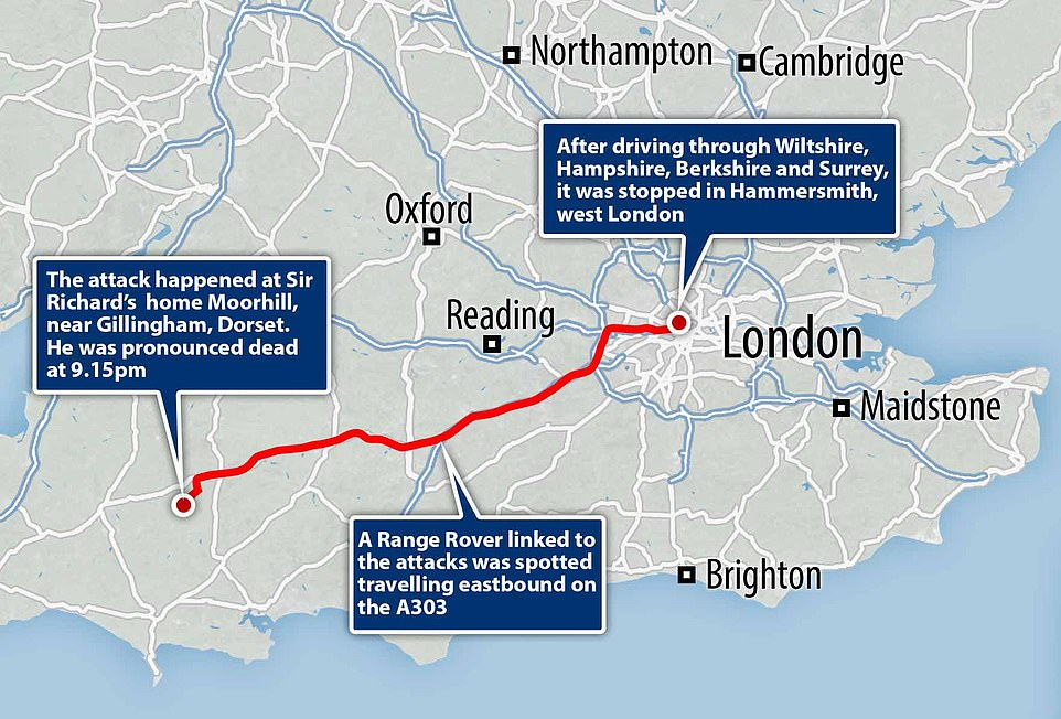 Last night police arrested a 34-year-old man, known to Sir Richard, on suspicion of murder. Pictured: A map showing how police tracked the suspect from Dorset to London last night