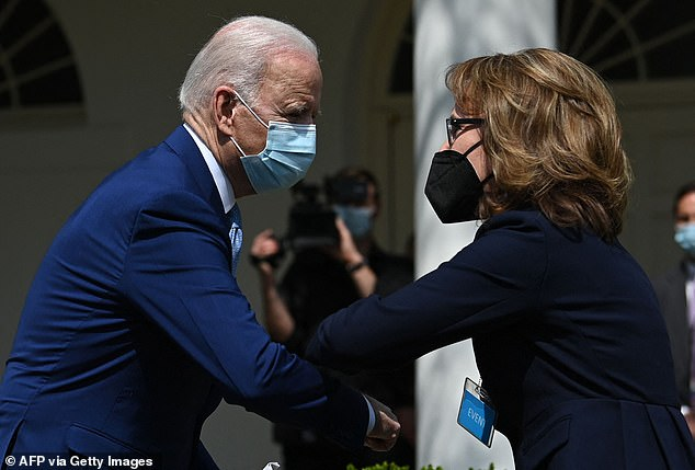 After his remarks, President Joe Biden came down to the audience to elbow bump former Congresswoman Gabby Giffords