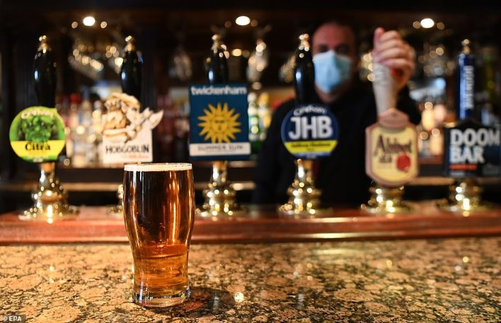 Research by TV channel Dave found that on fifth (21 per cent) of adults actually made a pub booking while Boris Johnson was announcing his lockdown exit roadmap on live TV