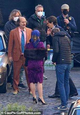 Dramatic scenes!Gaga and Jared filmed dramatic scenes with Adam Driver