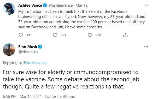 His comments come after he stirred up concerns about the safety of the vaccine last month when he suggested the second dose of two-shot vaccines could be harmful (above)