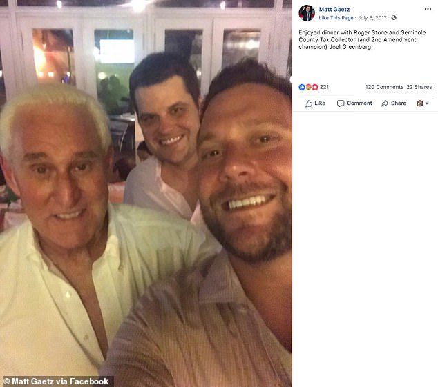 Joel Greenberg (right) is photographed hanging out with Rep. Matt Gaetz (center) and former President Donald Trump's longtime political adviser Roger Stone (left) in a post from Gaetz's Facebook account from 2017