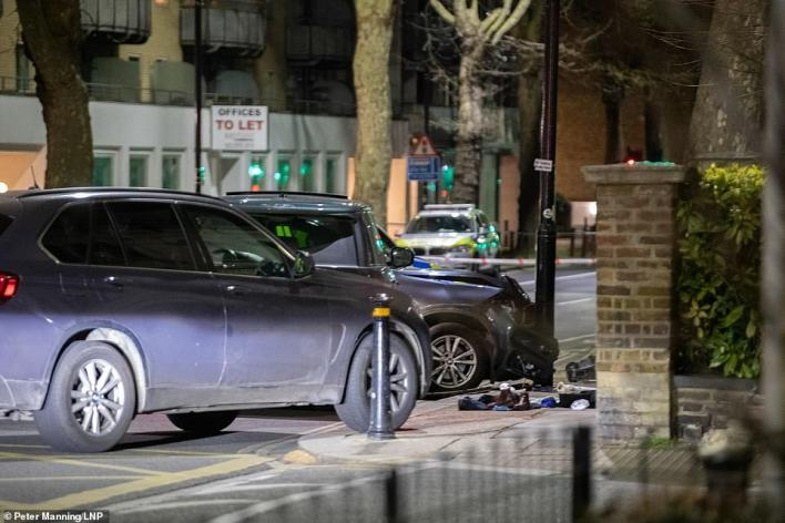 The Ranger Rover had been tailed by two marked police 4x4 cars and an unmarked BMW X5 as it travelled along the Chiswick High Road in west London at about 10.45pm on Wednesday night