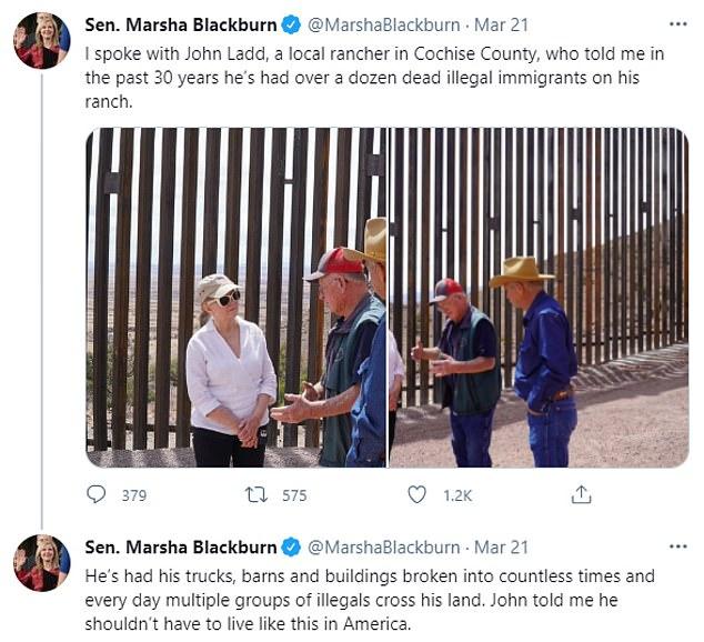 Senator Marsha Blackburn reported she'd spoken to a local Texas rancher who has found over a dozen dead illegal immigrant bodies on his ranch