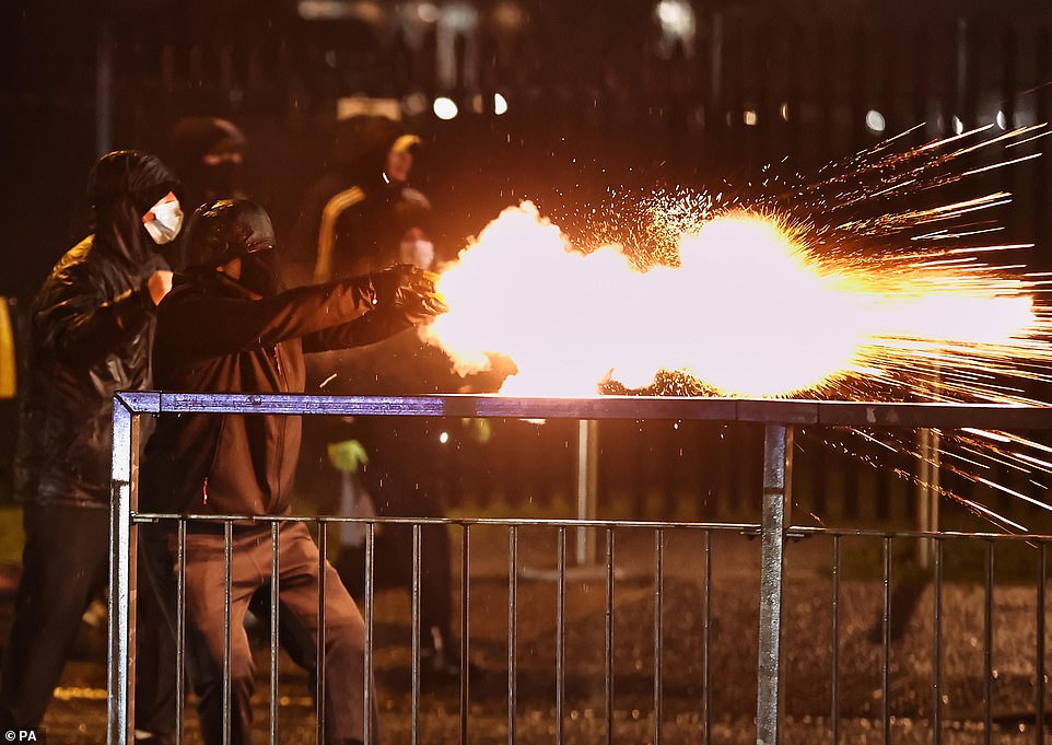 Violence flared up in Belfast again tonight as youths hurled petrol bombs at police officers in what has been described as the worst riots 'in years